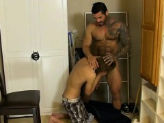 Naked guys The boy ends up on his knees getting face fucked