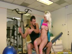 Stevie works up a sweat with her trainer Voodoo