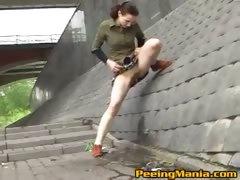 Baby girl is peeing