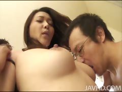 Squirting babe Minako Uchidas tits swing and sway as she