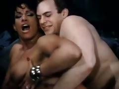 Hot ebony babe goes for 80s porn interracial fuck