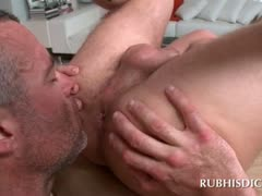 Gay horny masseur sucking cock and rimming straight butt