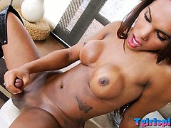 Beautiful Tgirl Beatrice plays with her shecock until orgasm