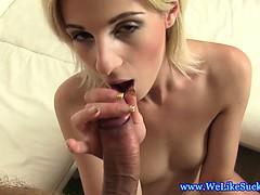 Blowjob loving blonde has deep throat
