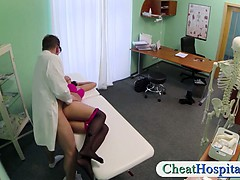 Pervert fake doctor nails her hot brunette patient in his