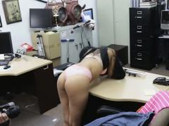 Pervy Pawnbroker Pervs On Broke Brunette In Back Room