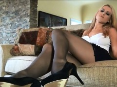 Blonde Bitch Wearing Pantyhose And High Heels